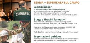 Corso in psicologia delle emergenze: TEORIA + ESPERIENZA sul campo: Lezioni indoor, Stage e tirocini formativi, esercitazioni outdoor